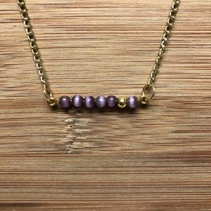 Handmade LSU Tigers Eye Bar Necklace
